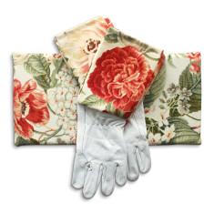 Gardeners kneeling pad & gloves in coral blooms