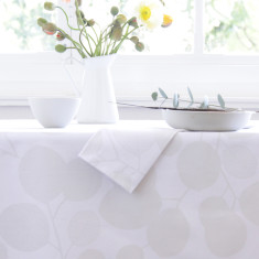 Oilcloth tablecloth - Eucalyptus Snow