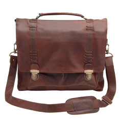 Leather clip-up satchel in vintage brown