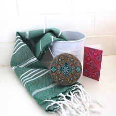Cotton hand towel and olive oil soap in a bucket (choose from 2 designs)