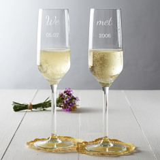 Personalised We Met Couple's Champagne Flute Set