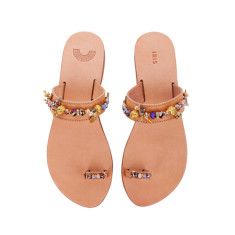 Golden Currant toe ring handmade leather sandals