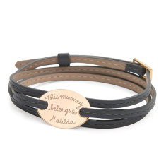 Women's personalised leather wrap & gold plated oval plate bracelet (various colours)