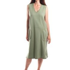 Raw V Sweat Dress in Khaki