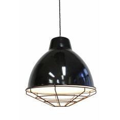 Loft Ceiling Pendant With Black Cage Guard