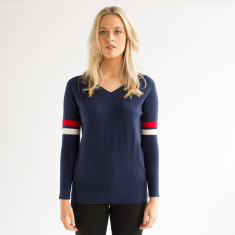 Merino Luxe Sweater - Navy, Red & Cream
