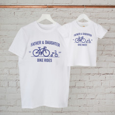 Personalised Father And Child Bike Ride T Shirt Set