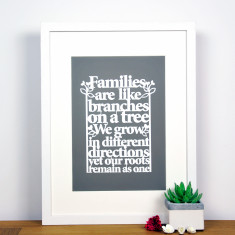 Family Tree Print Papercut Style