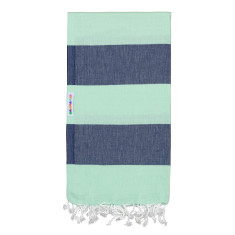 Hammamas Turkish Towels in Bold Mint / Navy
