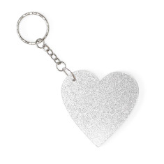 Heart key ring in silver glitter