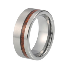Cooper silver tungsten ring with wood inlay
