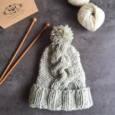 Make Your Own Big Alps Cable Beanie Hat Knitting Kit