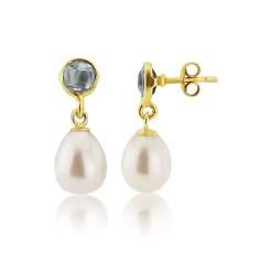 Blue Topaz Drop Earrings with Drop Pearl