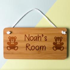 Personalised Teddy Bear Bedroom Door Sign