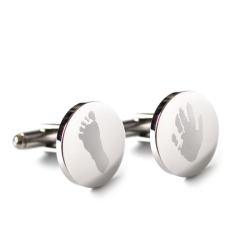 Fingerprint cufflinks with your child's hand or foot prints