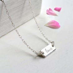 Personalised Sterling Silver Mini Bar Love Necklace