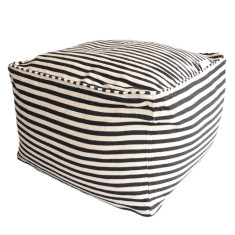 Glammclassic cube beanbag cover in navy & white stripe