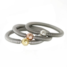 Spring snake bangle with sterling silver ball (various colours)