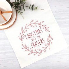 Red Wreath Personalised Christmas table runner (3 sizes)