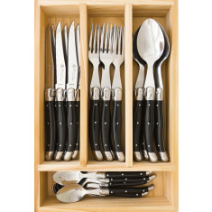 Laguiole by Louis Thiers 24-piece cutlery set with black coloured handles