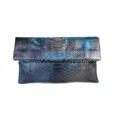 Metallic blue aura python leather classic foldover clutch bag