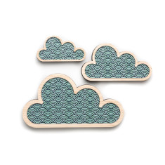 Teal wave cloud art (set of 3)