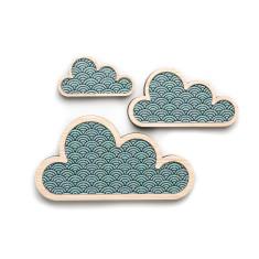 Teal wave cloud art (set of 3)