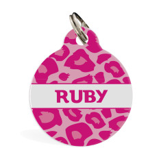Personalised pet ID tag standard (Leopard in red, blue or pink)