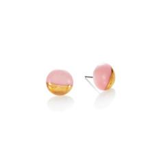 Gold dip porcelain stud in pink
