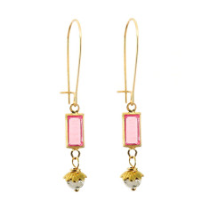 Rutilated quartz and vintage pink lucite drop earrings