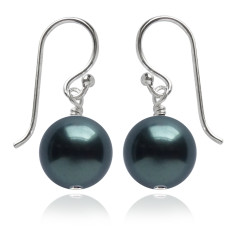 Swarovski pearl earrings in tahitian