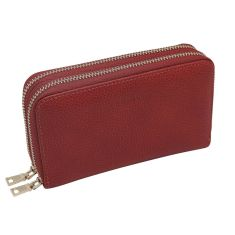 Double Zip Leather Wallet