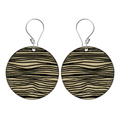 Black lines disk earrings