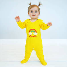 Personalised Rainbow And Clouds Baby Onesie