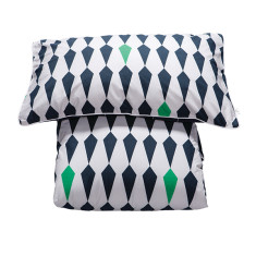 Reversible doona cover set in blue harlequin