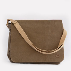 Computer satchel in Italian paper fabric military green