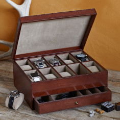 Leather watch box (ten compartments)