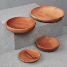Hand carved round Sapodilla dish (2 pieces)