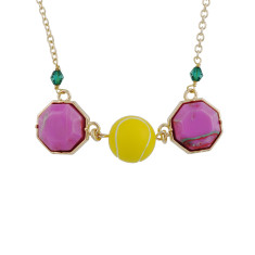 Tennis Ball And Colourful Stone Necklace