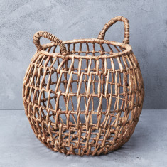 Waterhyacinth open weave belly basket with handles