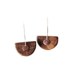Half moon and rose earrings
