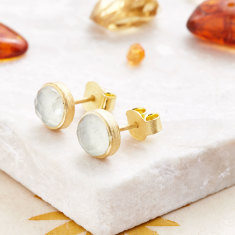 Cupcake Stud Earrings In Gold Plate With Prehnite