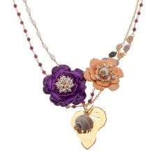 Flowers and snail shell necklace