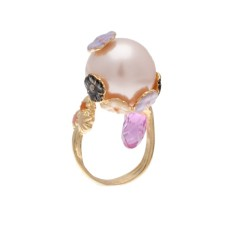 Purple flowers and pearl ring