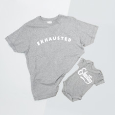 Dad And Baby Exhausted And Exhausting T Shirt Set