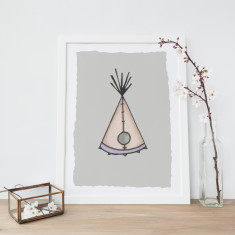 Stitched Wigwam Illustration Fine Art Nursery Print
