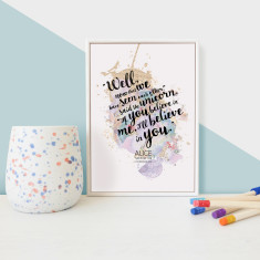 Alice in Wonderland Unicorn Self Belief Quote - Framed Mini Print