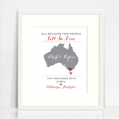Two people fell in love personalised wedding print
