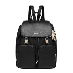Il Tutto Susanna Leather/Poly Backpack in Black