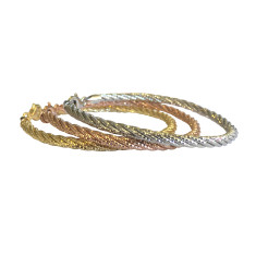 Five strand sterling silver omega bracelet in silver, gold and rose gold